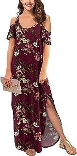 GRECERELLE Women's Summer Casual Loose Long Dress Strapless Strap Cold Shoulder Short Sleeve Split Maxi Dresses with Pocket