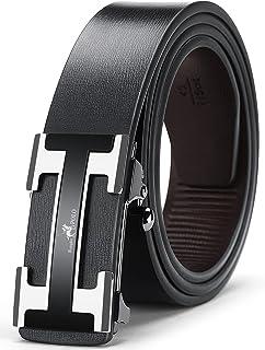 حزام رجالي من الجلد الأصلي بسقاطة قابل للتعديل مع إبزيم تلقائي أحزمة رجالي كاجوال