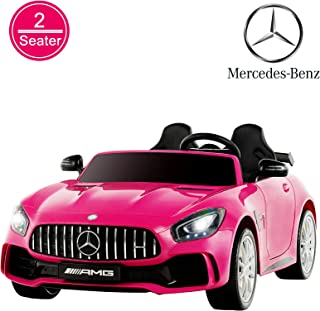 Uenjoy 2 Seater 12V Electric Kids Ride On Car Mercedes Benz AMG GTR Motorized Vehicles with Remote Control, Battery Powered, LED Lights, Wheels Suspension, Music, Horn, Pink