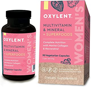 Oxylent Women's Multivitamin Vegetarian Capsules - Delivers a Full Spectrum of Vitamins, Minerals, Superfoods, Marine Collagen & Resveratrol for Anti-Aging, Vitality and Antioxidant Support, 90 Count