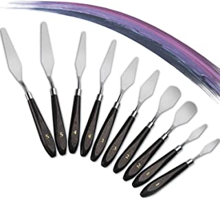 Young4us 10-Piece Painting Knife Set, Stainless Steel and Wood Handle Spatula Palette Knife Mixing Scraper for Oil Paint Color Mixing, 2 Pack