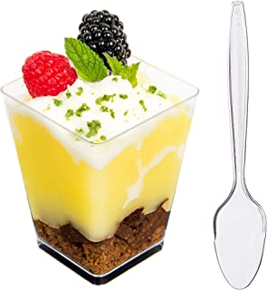 DLux 50 x 5 oz Mini Dessert Cups with Spoons, Square Large - Clear Plastic Parfait Appetizer Cup - Small Disposable Reusable Serving Bowl for Tasting Party Desserts Appetizers - With Recipe Ebook