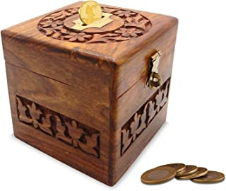 Wooden Handmade Money Box with Carving Money Bank Brass Latch/Piggy Bank, Money Box, Money Bank for Kids in Brown Color, 4 Inch