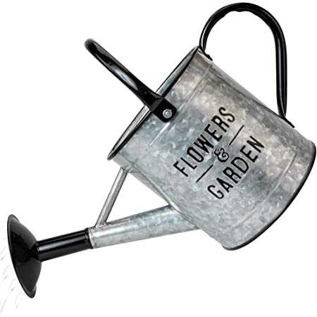 KIBAGA Beautiful Galvanized Watering Can - Decorative 84oz Farmhouse Style Watering Can with Easy Pour Over Sprinkler Spout for Fast and Easy Plant Watering - Perfect for Indoor and Outdoor Use