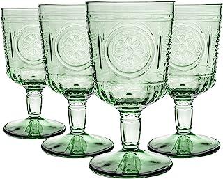 Bormioli Rocco 12pc Romantic Wine Glasses Set - Vintage Italian Cut Glass Goblets - 320ml - Green