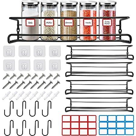 Lot de 4 étagères à épices de cuisine, 8 crochets en S, étagère à épices organiseur pour armoire, étagère à épices, tiroir organiseur autocollant, sans perçage pour fixation murale, 29 x 6,3 x 6,5 cm