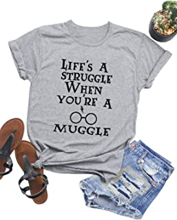 Women Life's A Struggle When You're A Muggle T-Shirt Crew Neck Solid Color Casual Tops