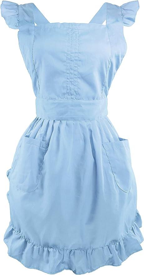 Blue Floral Half Apron with Ruffled Hem; Vintage Cotton HostessBrunchGarden PrintShabby Chic Apron