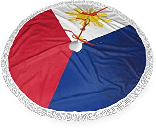 NTQFY Flag of The Philippines Tree Skirt Soft 30/36/48 Inch Tree Skirt with Tassel Faux Fur Xmas Tree Skirt for Christmas Indoor Outdoor Decor 36