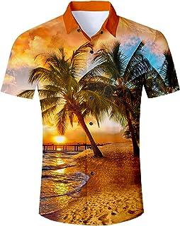 1beeec4853e323 ALISISTER Camicia Hawaiana Uomo Funky Estate 3D Stampa Maniche Corte  Abbottonata Camicia Uomo Slim Fit M