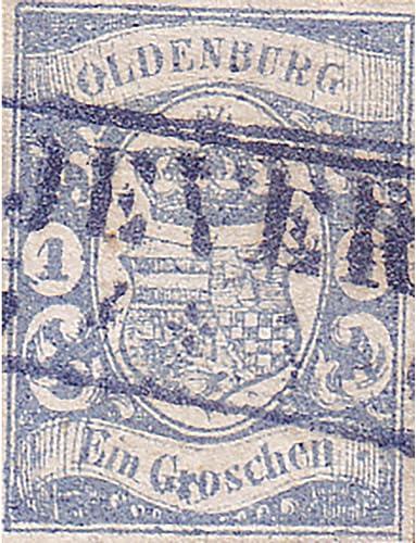 Goldhahn Oldenburg Nr. 12 b gestempelt geprüft Briefmarken für Sammler