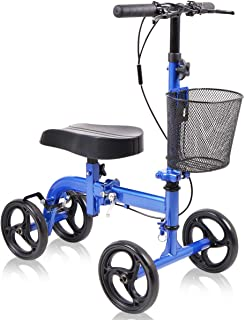 Give Me Knee Scooter Super Compact & Portable Knee Walker Crutches Alternative Steerable in Blue