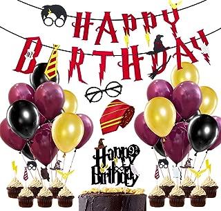 JOYMEMO Zauberer Dekoration Party Supplies, Wein rot Alles Gute zum Geburtstag Banner, gestreifte Krawatte, Wizard Gläser, Cake Toppers für Birthday Party Dekorationen