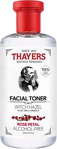 THAYERS Witch Hazel Rose Petal Face Toner, Natural, Alcohol Free with Aloe Vera, Hydrating and Refreshing for All Ski...