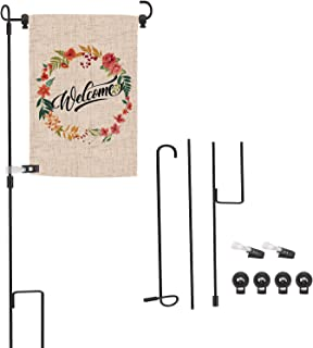 OOTSR Garden Flag Stand with Anti-Wind Clip and Spring Stoppers, Banner Flag Pole Black Wrought Iron Yard Garden Flag Pole...