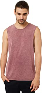 Silent Theory Men's Standard Mens Muscle Crew Neck Cotton Red