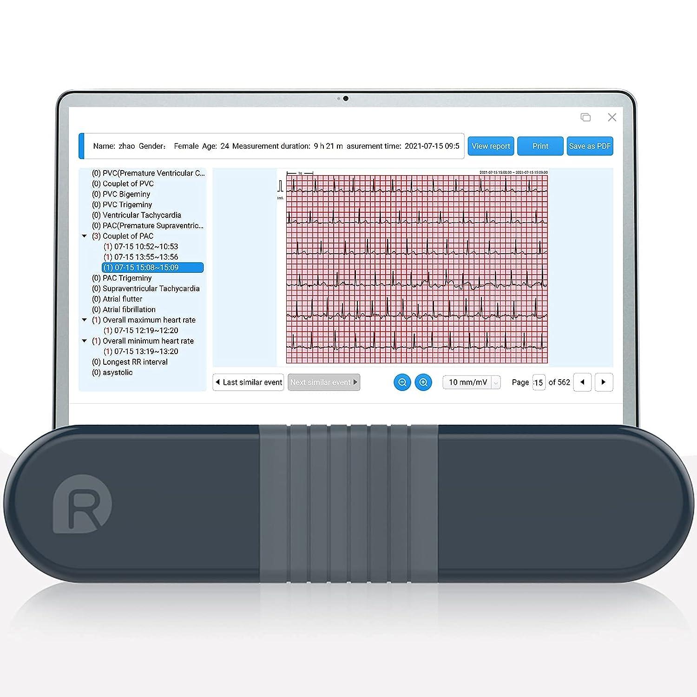 Wellue Monitor de ECG, Registrador Holter Profesional con Informe de Análisis AI-ECG, Registro Holter de ECG de 24 Horas, Software de Soporte para PC, Impresión de PDF de Forma de onda de ECG