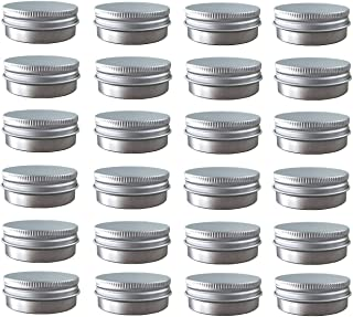 24 Pack (2 Oz/60ml) Screw Top Round Aluminum Tin Cans, Metal Tin Storage Jar Containers with Screw Cap for Lip Balm, Cosmetic, Candles, Salve, Make Up, Eye Shadow, Powder, Tea