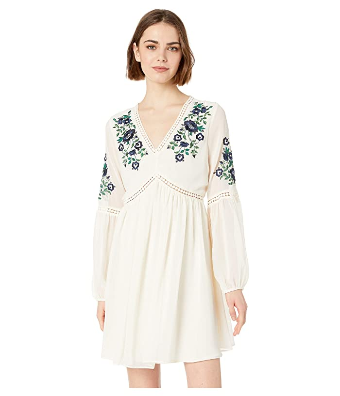 Cupcakes and Cashmere Lynsey Embroidered Peasant Dress (Ivory) Women