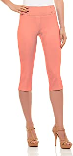 Womens Classic Fit Capri Pants - Pull On Style Capris with Detailed Design, Velucci