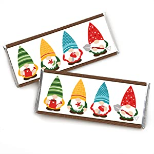 Big Dot of Happiness Garden Gnomes - Candy Bar Wrapper Forest Gnome Party Favors - Set of 24