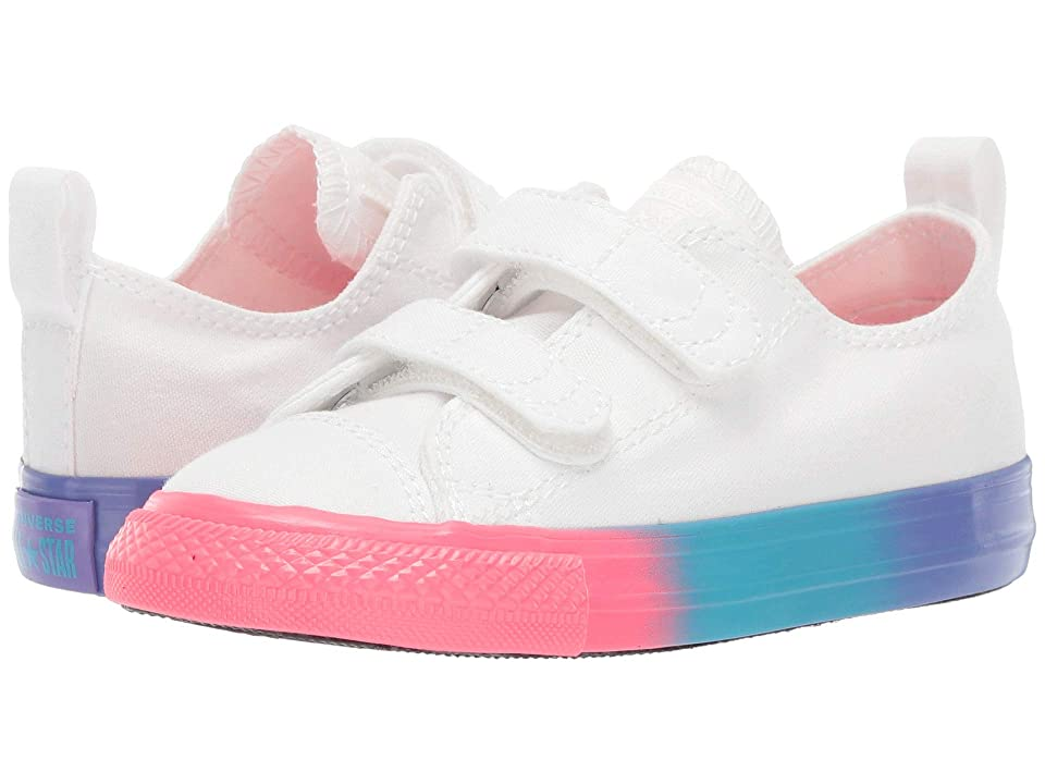 Converse Kids Chuck Taylor All Star 2V Rainbow Ice Ox (Infant/Toddler) (White/Racer Pink/Black) Girls Shoes