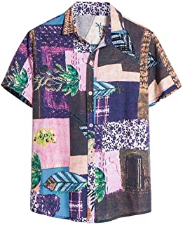 Mens Vintage Shirts Ethnic Printed Turn Down Collar Shirt Short Sleeve Loose Casual Tops