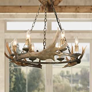 LOG BARN 6 Lights Farmhouse Faux Antlers Chandelier in Hand-Polished Resin and Rusty Metal Finish, 27