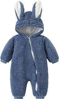 الرضع السروال القصير الوليد الطفل بنات الفتيان الأرنب الدافئة سميكة snowsuit معطف مقنعين بذلة مع الأذن (Color : Blue, Size...