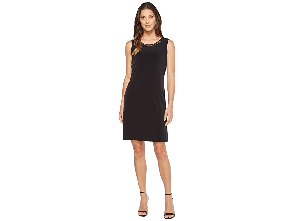Calvin Klein Sleeveless Dress with Rivet and Chain (Black) Women