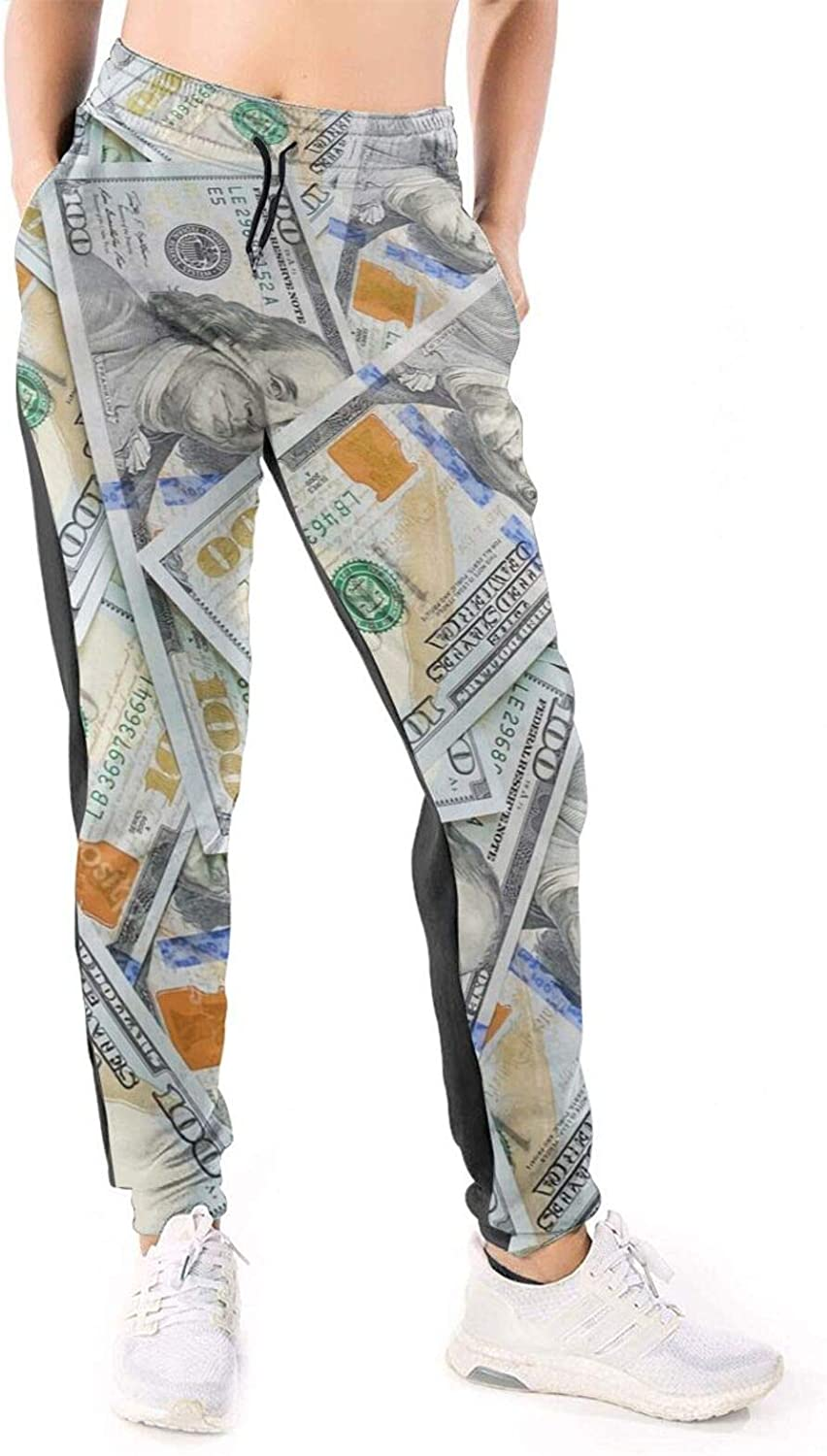 LONEA Women Joggers Pants New 100 Dollar Bills Money Athletic Sweatpants with Pockets Casual Trousers Baggy