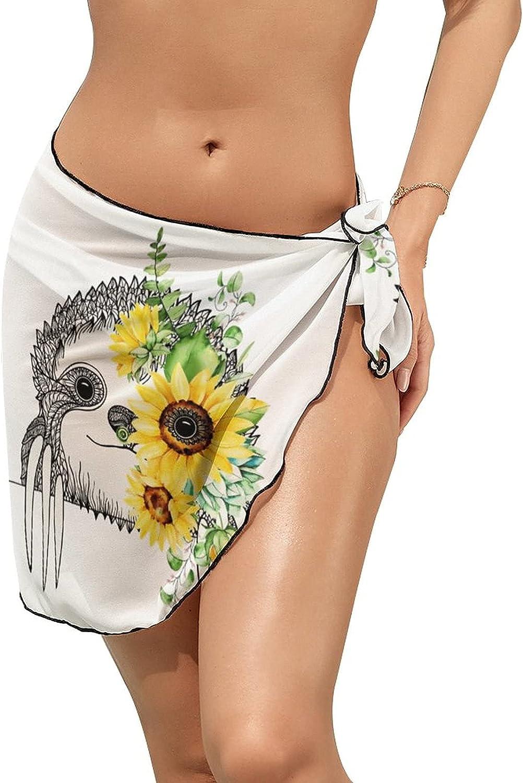 JINJUELS Women Beach Wrap Skirts Sloth Sunflower Personalized Bikini Swimwear Beach Cover Up