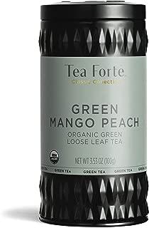Tea Forte Organic Green Tea, Makes 35-50 Cups, 3.53 Ounce Loose Leaf Tea Canister, Green Mango Peach