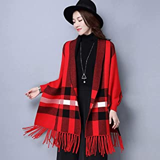 Lady Women Plaid Knit Autumn Winter Cape Scarf Long Tassel Wrap Shawl Scarves, Warm Soft Cozy, Fit with Fall Winter