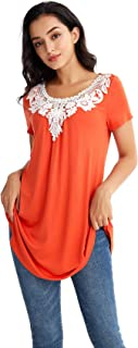 YAQIER Women's Casual Summer Round Neck Hollow Out Short Sleeve Top Lace Embroidery Spliced Loose Tunic Blouse