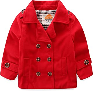 Mud Kingdom Baby Boy Bomber Jacket Plain Faux Wool Coat