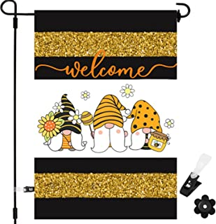 Cmaone Welcome Home Garden Flag Bee Gnome Burlap Yard Signs Double Sided Yard Flag Honey Sunflower Gnomes Spring Summer Pa...