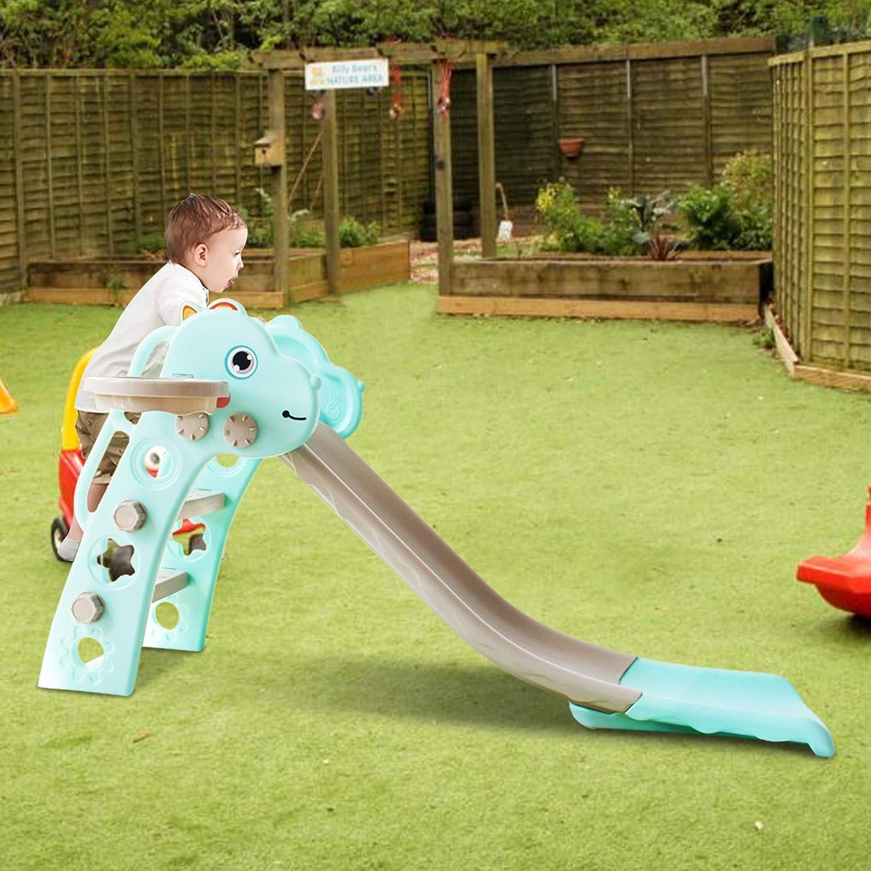 Kids Folding First Slide, Baby Plastic Freestanding Slide Playse
