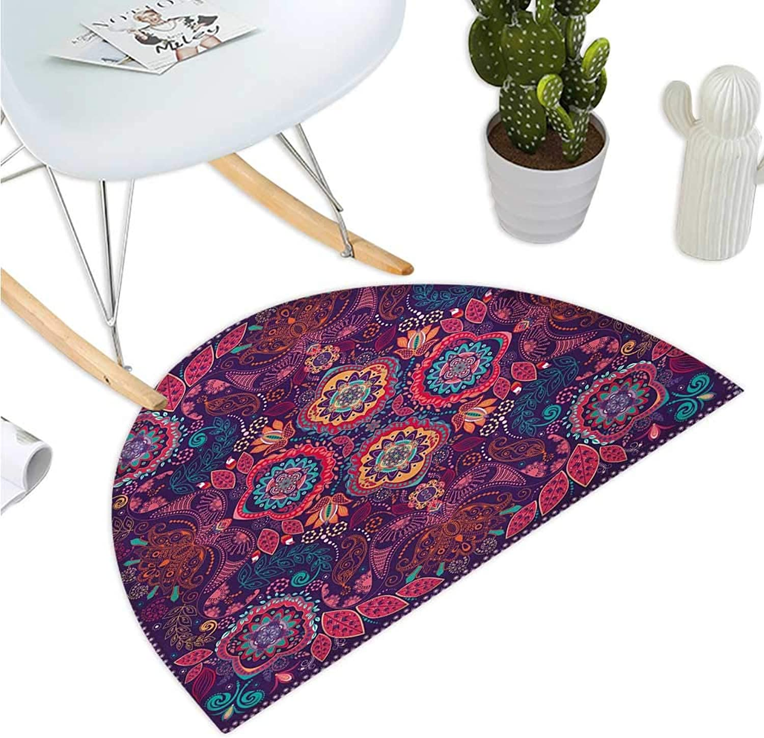 Paisley Semicircular Cushion Modern Classic Ethnic Asian Design with Dots Leaves and Flowers Artistic Print Entry Door Mat H 39.3  xD 59  Multicolor