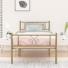 إطار سرير معدني أبيض اللون اللون من SimLife مزود بمنصة من الفولاذ مقاس Twin 6 أرجل اثنين من لوحات أمامية أساس مرتبة