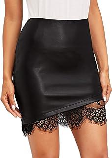Floerns Women's Pocket Zipper Faux Leather Bodycon Short Skirt