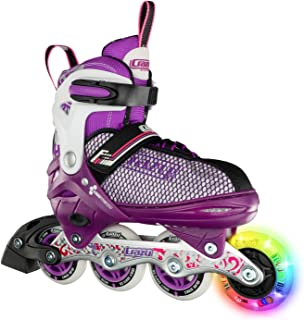 Crazy Skates Adjustable Inline Skates with Light Up Wheels - Roller Blades for Girls and Boys - Available in Two Colors (Model 168)