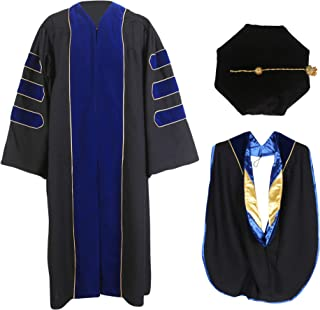 MyGradDay Deluxe Premium Graduation Doctoral Regalia Gown,PHD Hood & 8-Side Tam Package