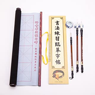 Chinese Japanese Magic Rewritable Calligraphy Water Writing Fabric Cloth Brush Pen Set, Practicing Chinese Calligraphy Or Kanji Made Easy, Rice Paper replacement & Inkless