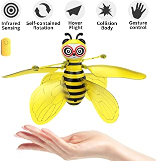pop mart Bee Toy Bumblebee Drones Hand-Controlled Bee Flying Toys Palm Induction Parachute Figures RC Rechargeable Cute Ho...
