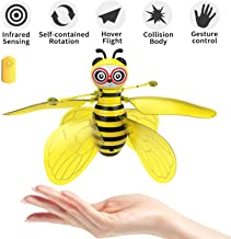 pop mart Bee Toy Bumblebee Drones Hand-Controlled Bee Flying Toys Palm Induction Parachute Figures RC Rechargeable Cute Honeybee Induction Helicopter Ball Shinning Lights Safe Durable