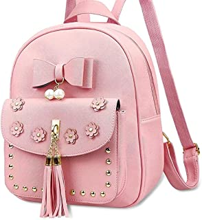Bizanne Fashion Cute Front Bow Backpack for Women and Fashion Backpack for Girls, College Bag for Women (BV_1277, Pink)