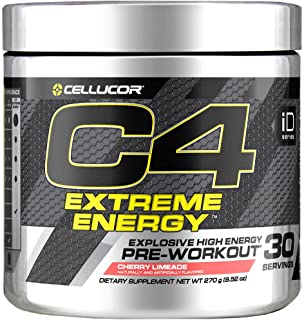 C4 Extreme Energy Pre Workout Powder Cherry Limeade | Sugar Free Preworkout Energy Supplement for Men & Women | 300mg Caffeine + beta Alanine + Creatine | 30 Servings