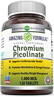 Amazing Nutrition Chromium Picolinate Supplement – Supports Healthy Weight Management & Healthy Metabolism - 1000 mcg Tabl...