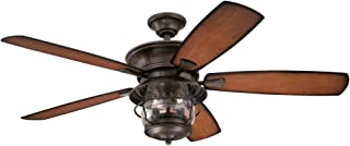 Westinghouse Lighting 7800000 Brentford 52-Inch Indoor/Outdoor Ceiling Fan, Light Kit with Clear Seeded Glass, 1, Aged Walnut Finish